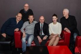 (v.l.:) Vittorio Alfieri, Autor Jürgen Kehrer, Roland Jankowsky, OB Markus Lewe, Laura Louisa Garde, Regisseur Martin Enlen (Foto: th)