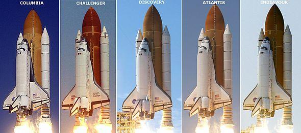 De namen van de Space Shuttles