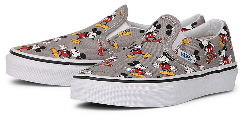 Vans Slip On Shoes Disney Mickey Mouse Grey