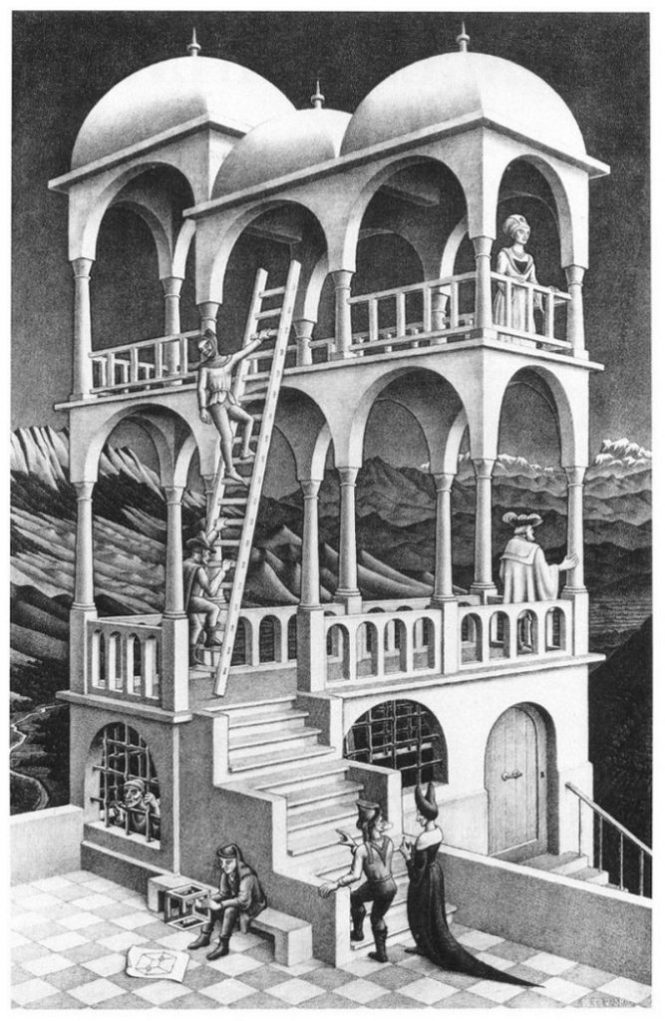 Belvedere 667x1024 - TOP 10 MOST FAMOUS AND BEST WORKS BY MC ESCHER