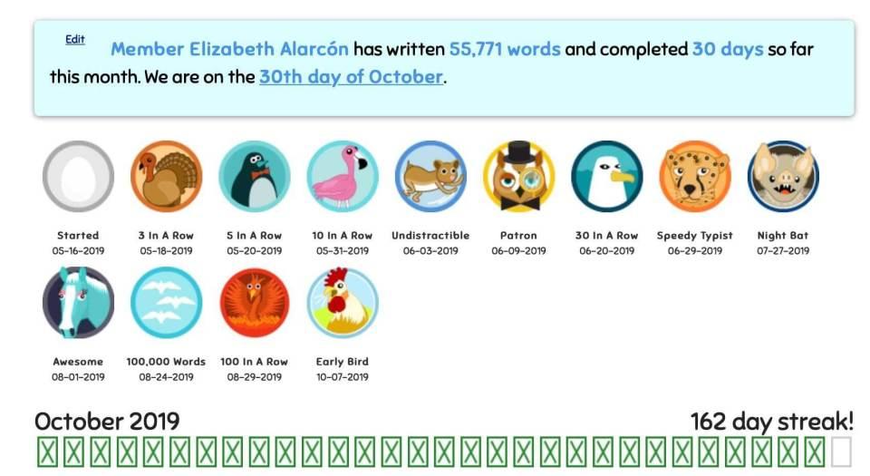 ALLEZ ELIZABETH - OCTOBER 2019 BADGE COUNT