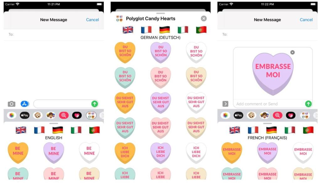 POLYGLOT CANDY HEARTS STICKER PACK FOR iOS