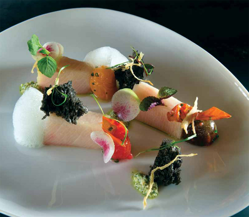 Lightly Cured Hamachi With Serrano Pesto And Gingered Heirloom Tomatoes Recipe All Food Chef