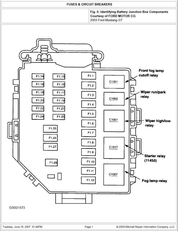 01 ford mustang fuse diagram