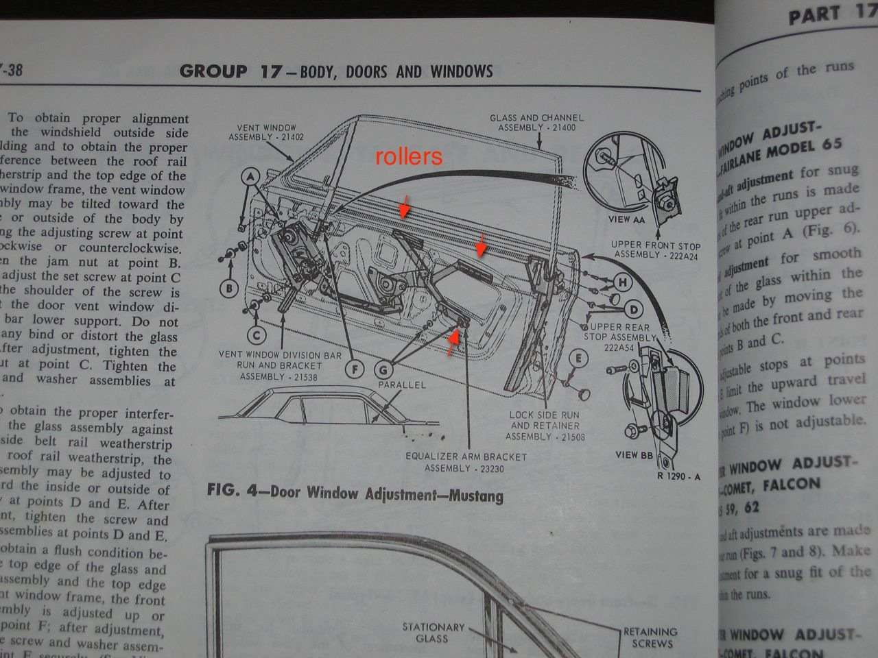 hight resolution of 65 mustang door glass diagram wiring schematic diagram1966 mustang coupe how many window rollers ford