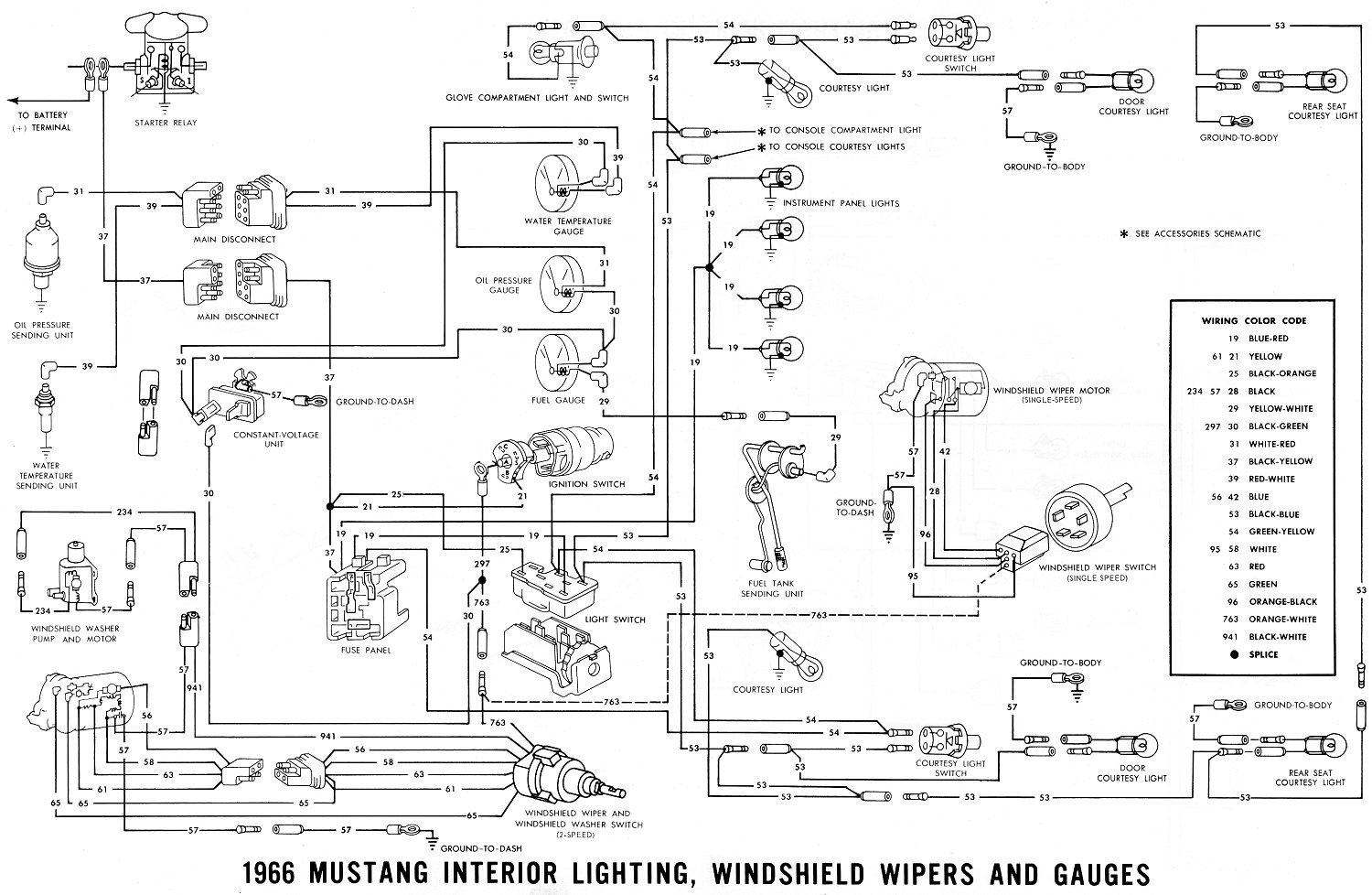 66 mustang wiring diagram courtesy