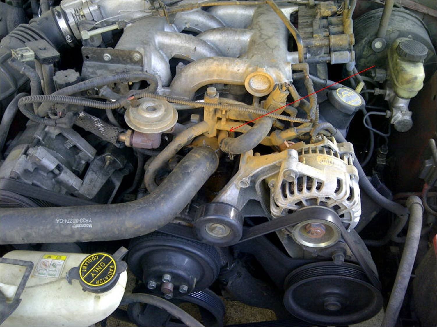 ford 4 6l engine diagram 98 jeep grand cherokee stereo wiring 2001 mustang 3.8l, unknown coolant pipe leak - forum