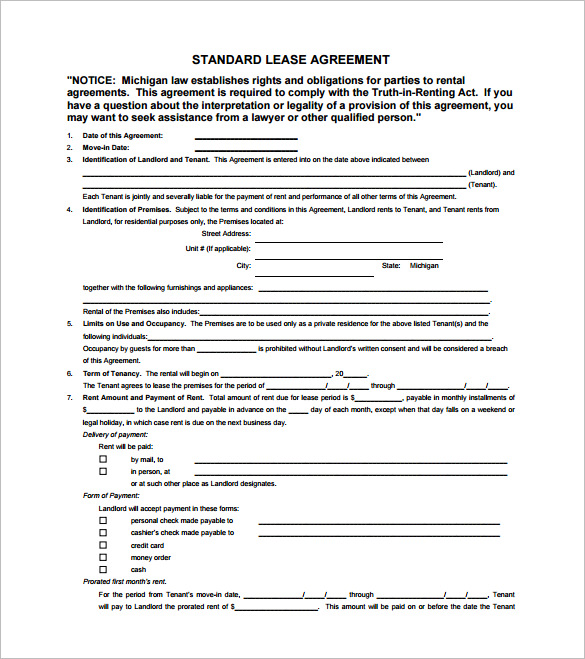 Rental And Lease Agreement Template  All Form Templates