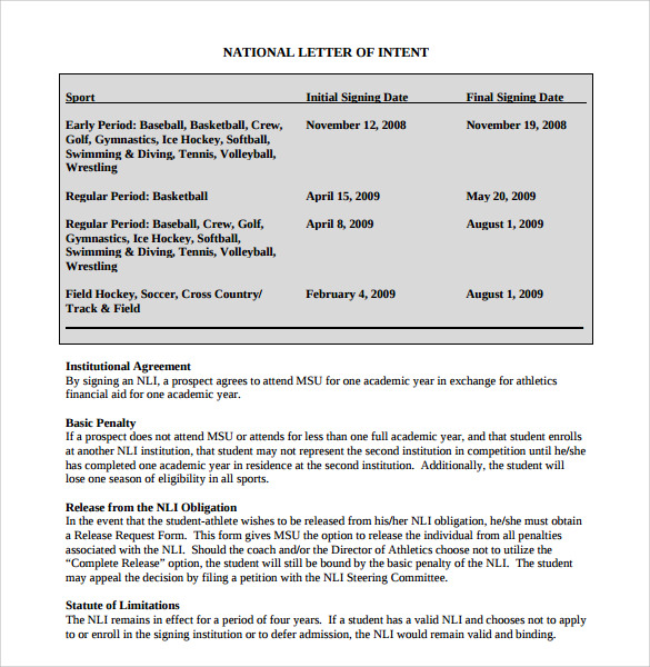 P15. National Letter Of Intent: ...  Letter Of Intention Template
