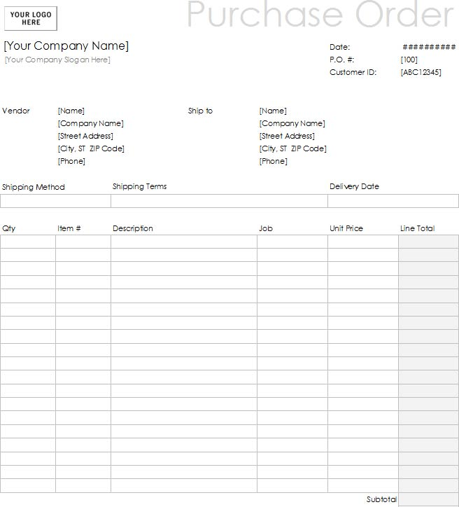 Blank Purchase Order Template: This Template Helps You Get A Great  Comprehensive Agreement For Project Works Covering The Scope Of Work,  Details Of Items To ...