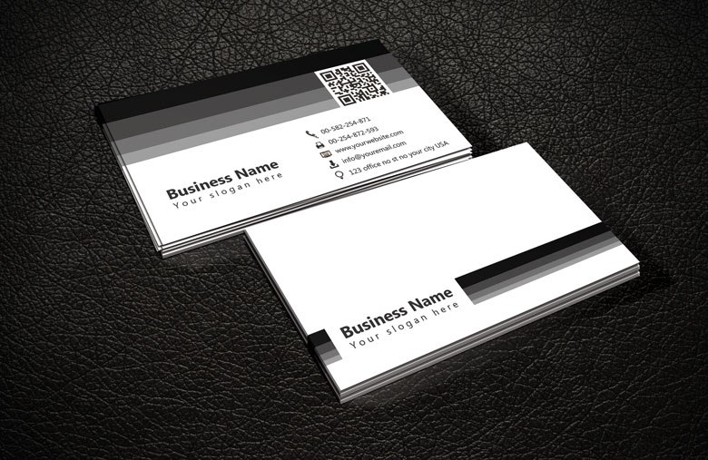 Black and White QR Code Business Card Template