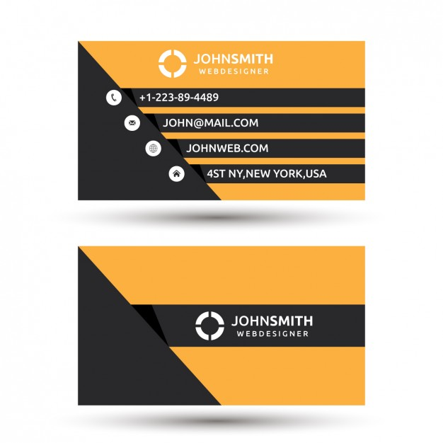 Simple Orange and Black Business Card template