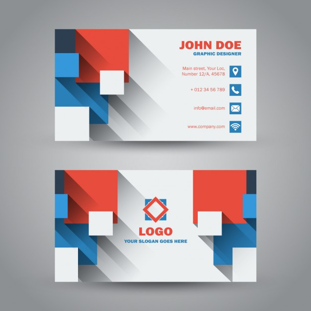 Flat Design Business Card With Long Shadow