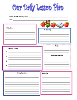Daily Lesson Plan  Free Daily Lesson Plan Template