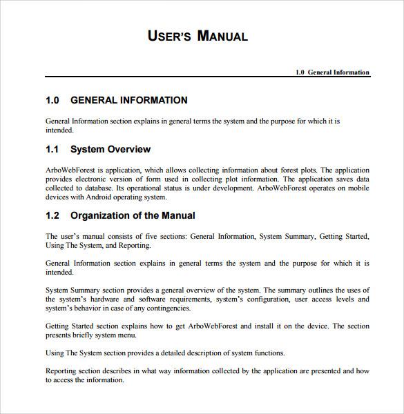 User Manual Template  Guide Templates