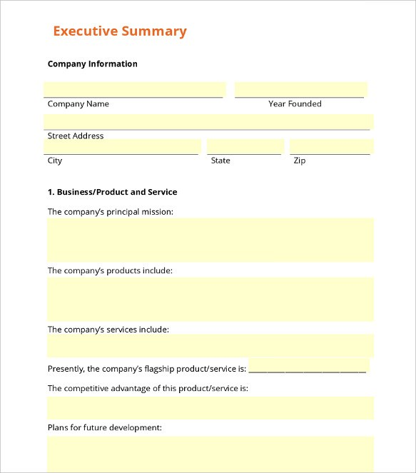 Business summary template engneforic business summary template friedricerecipe Image collections