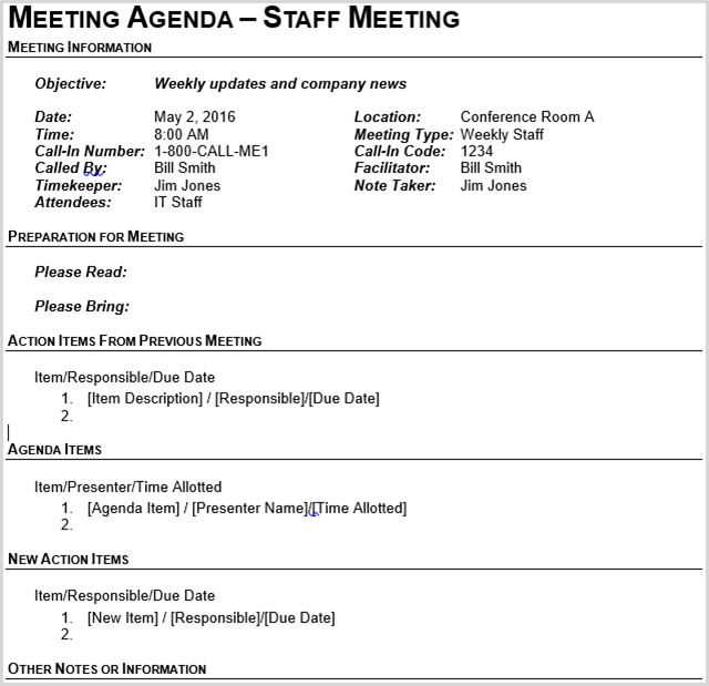 Marvelous Business Meeting Template Download Free
