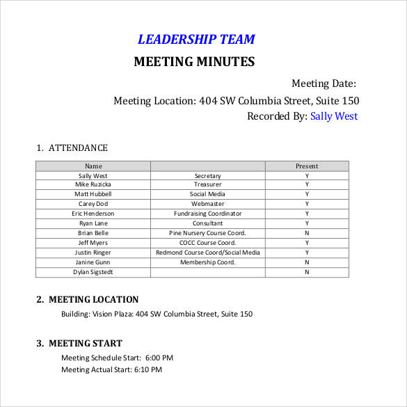 Team Meeting Minutes Templates  Minutes Templates