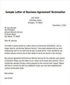 business termination letter