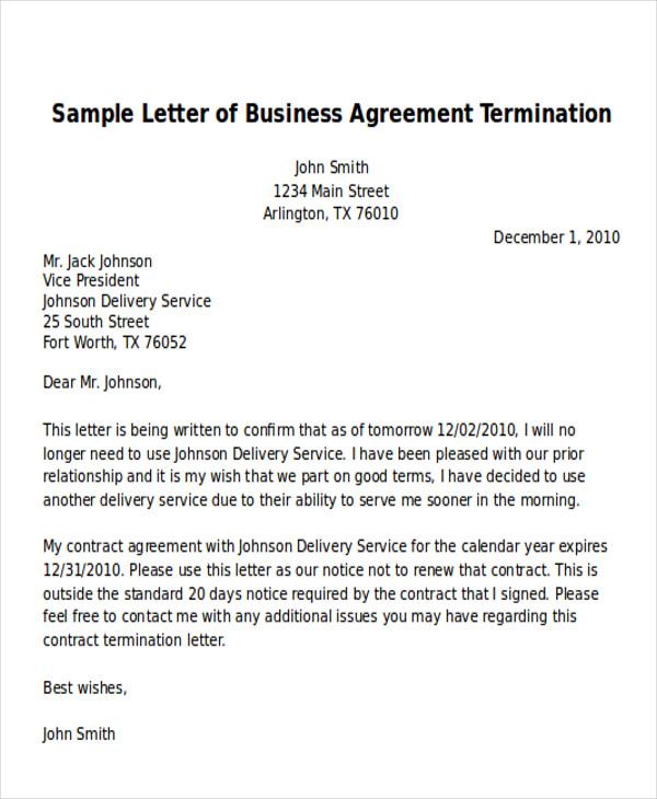 Business Termination Letter  Letter Of Firing