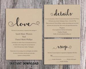 DIY Vintage Wedding Invitation Template