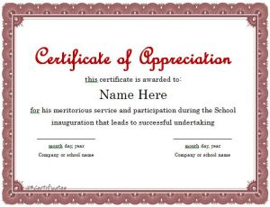 Certificate of Appreciation for Best Student