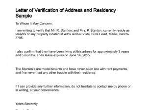 Employee address verification letter template