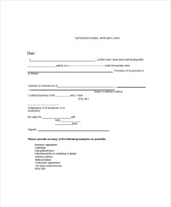 Self declared salary verification letter template
