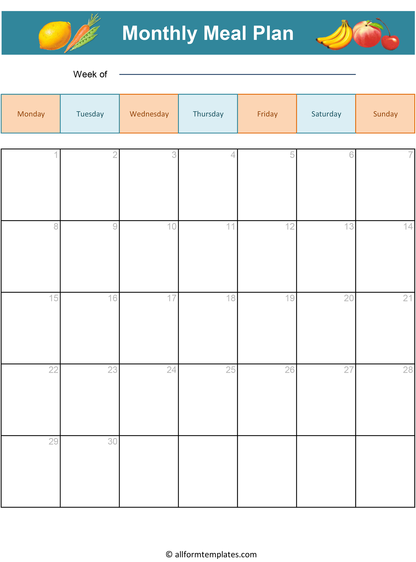 Printable Blank Monthly Meal Planner In Word Amp Excel