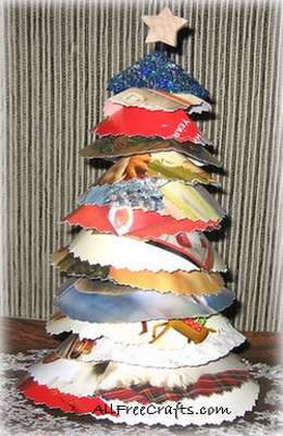 Recycled christmas card trees all free crafts for All free holiday crafts