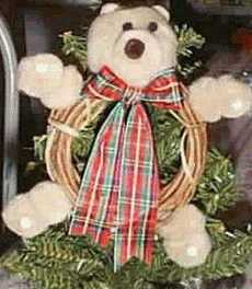 pompom bear on twig wreath
