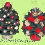 Christmas trees made from pinecones