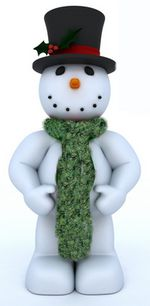 snowman wearing feather and fan scarf