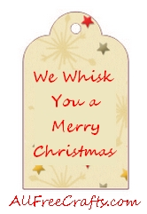 graphic about We Whisk You a Merry Kissmas Printable Tag named Whisk Yourself a Merry Xmas - All No cost Crafts