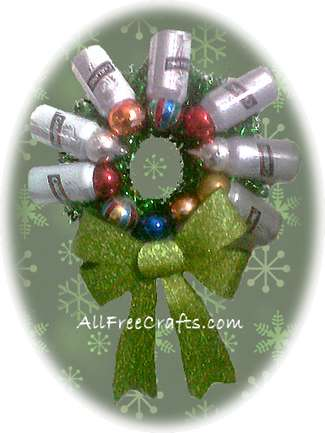 beer can wreath with green bow