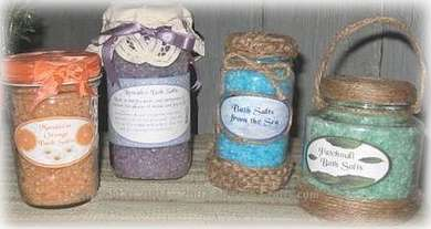 Homemade Bath Salts In Decorated Glass Jars