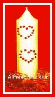 rhinestone heart studded candle