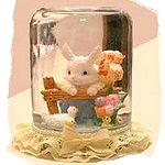 glass jar bunny