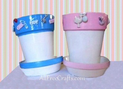 clay baby shower pots