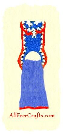 crocheted patriotic towel holder