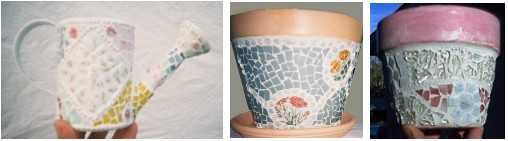 mosaic flower pots and watering can
