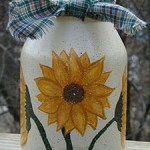 painted sunflower jar
