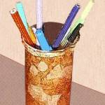 Faux Leather Pencil Holder