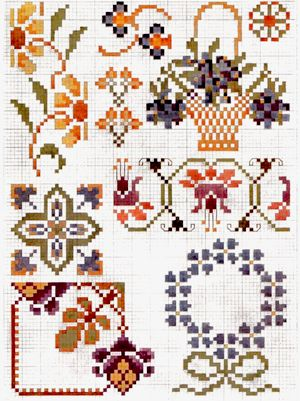 Priscilla Colored Cross Stitch Book 2 - baskets and flowers plate