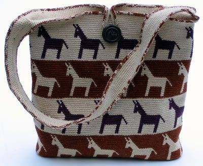 tapestry crochet horse motif purse