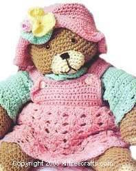 Crochet Teddy Bear in Coordinating Dress and Hat