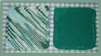 two basic knitted dishcloths