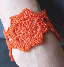 crocheted lotus flower cuff or bracelet