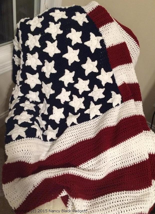 american flag afghan by Nancy Black Padgett