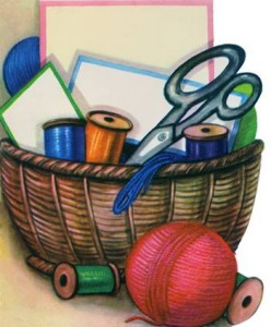 sewing basket with scissors and thread